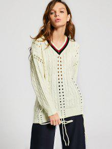 Contrast Hollow Out Cable Knit Sweater - Palomino