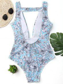 f8810d19936a 16% OFF] 2019 Plunging Neck Floral One-piece Swimwear In FLORAL | ZAFUL