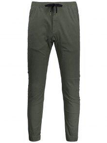 Casual Drawstring Jogger Pants - Army Green 32