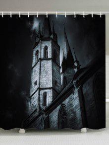 قلعة هالوين طباعة ماء حمام دش الستار - أسود W59 بوصة * L71 بوصة