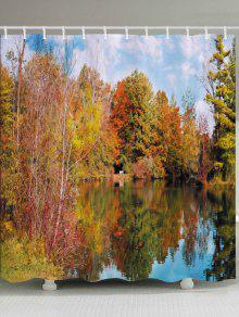 بحيرة الغابات طباعة ماء حمام دش الستار - أشجار الحمضيات W71 بوصة * L79 بوصة