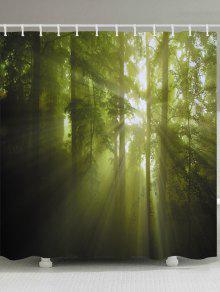 أشعة الشمس الغابات الأشجار طباعة ماء الحمام دش الستار - أصفر + أخضر W59 بوصة * L71 بوصة