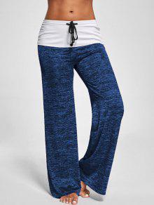 Pantalon Chiné Contrastant à Pattes Larges - Bleu Océan M