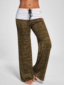 Foldover Heather Wide Leg Pants - Brown 2xl