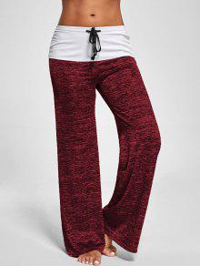Foldover Heather Wide Leg Pants - Red M