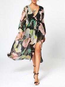 فستان طويلة الأكمام شيفون ماكسي طباعة الأزهار كهنوتي - الأزهار L