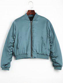 Puffer Zip Up Bomber Jacket - Lake Blue M