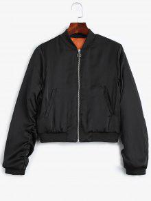 Puffer Zip Up Bomber Jacket - Black L