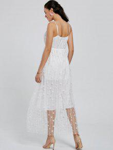 65fb2faf571 31% OFF  2019 Allover Star Maxi Flowing Slip Dress In WHITE