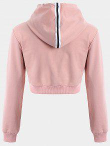 crop sportliches hoodie mit kordelzug rosa hoodies. Black Bedroom Furniture Sets. Home Design Ideas