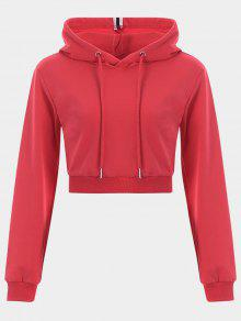 Cropped Drawstring Sports Hoodie - Red L