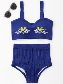 Juego De Bikini De Punto Jacquard - Azul Zafiro