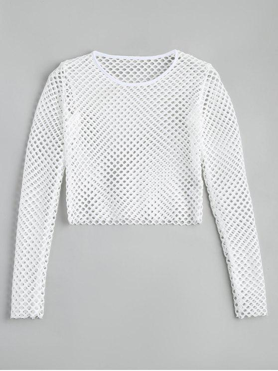 buy Cropped Sheer Mesh Top - WHITE S
