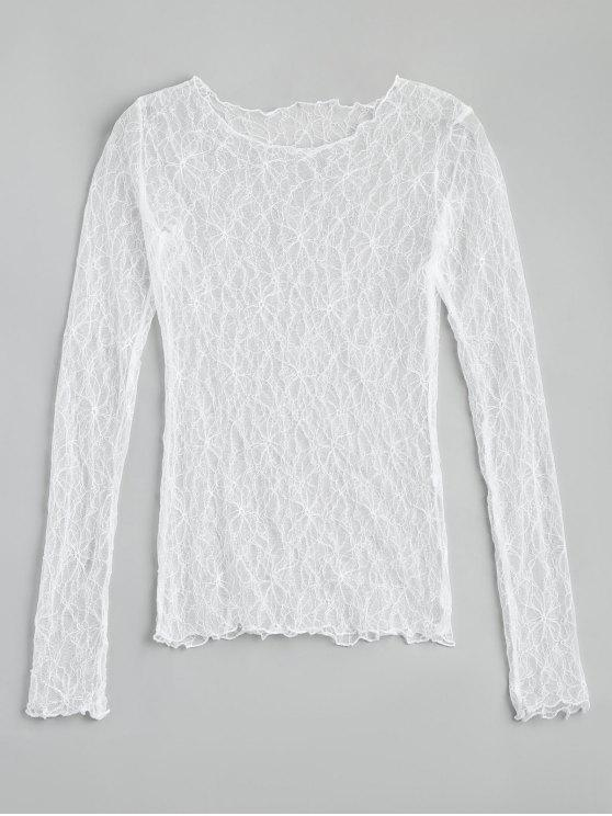 womens Floral See Thru Lace Blouse - WHITE ONE SIZE