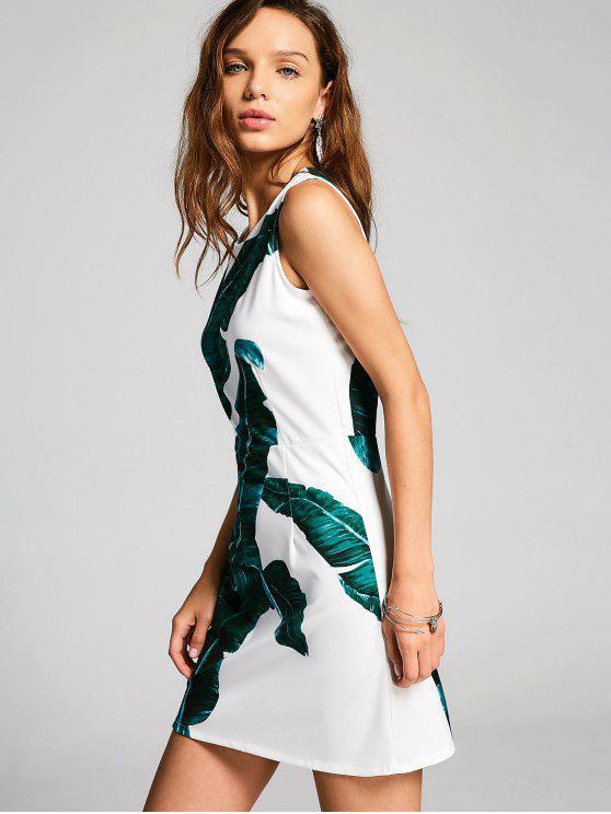 Blätter Drucken Ärmelloses Minikleid - Weiß und Grün XL