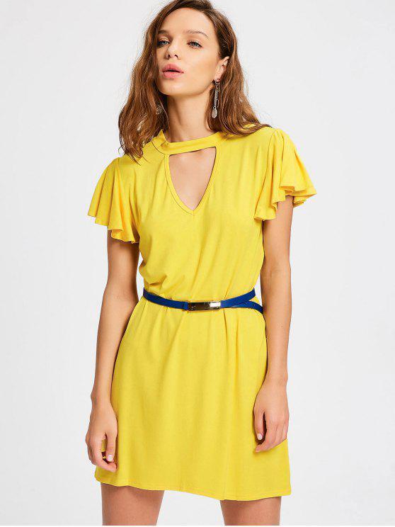 latest Ruffled Sleeve Keyhole Shift Dress - YELLOW L