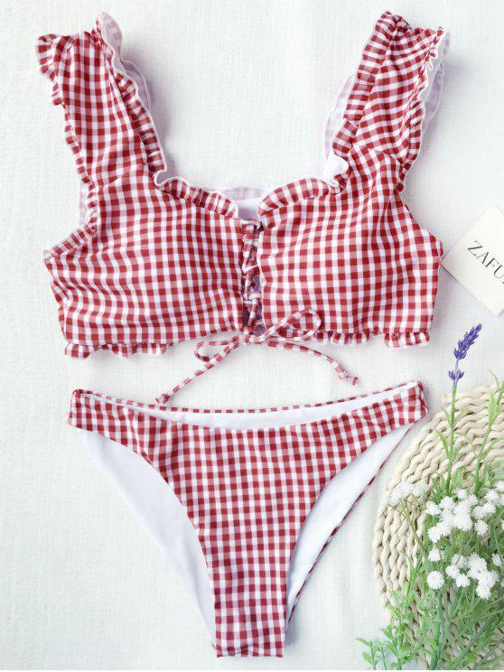 womens Gingham Lace Up Bralette Bikini Set - RED AND WHITE XL