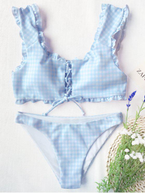 Bikini con stringhe e stringhe in pizzo - Blu e Bianco S