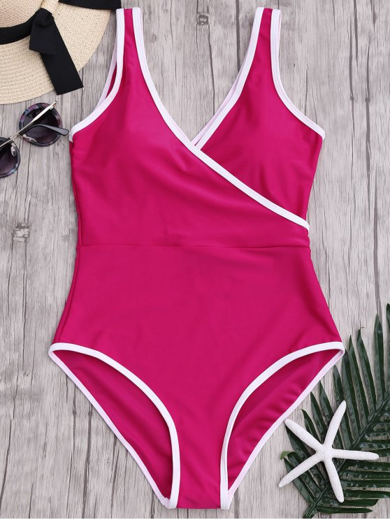 sale Contrast Trim One Piece Swimsuit - ROSE RED S