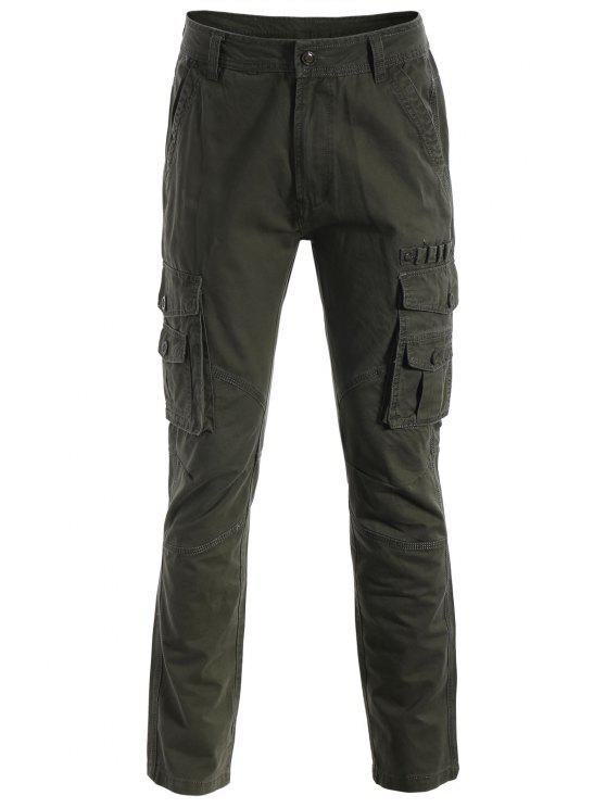 outfit Flap Pockets Pants - ARMY GREEN L