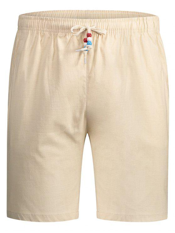 latest Drawstring Beaded Bermuda Shorts - PALOMINO 4XL