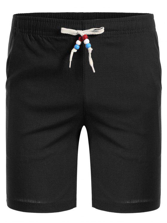Bermuda Shorts mit Perlen und Kordelzug - Schwarz 3XL