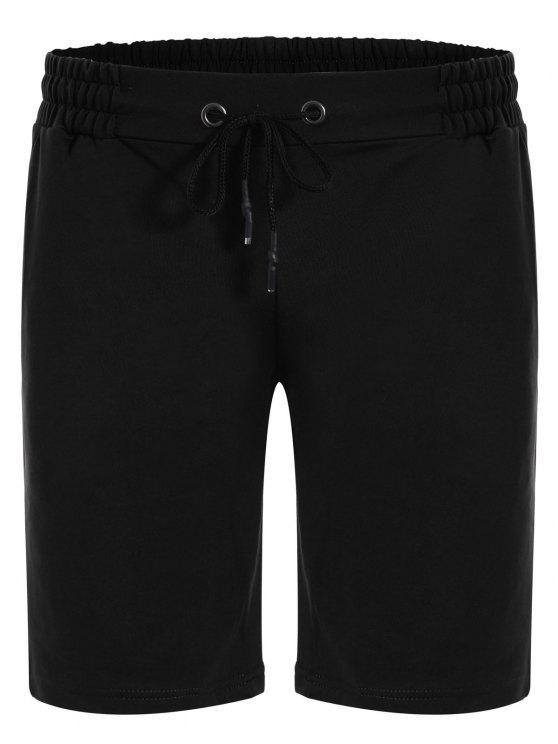 ladies Side Pocket Drawstring Men Bermuda Shorts - BLACK 3XL