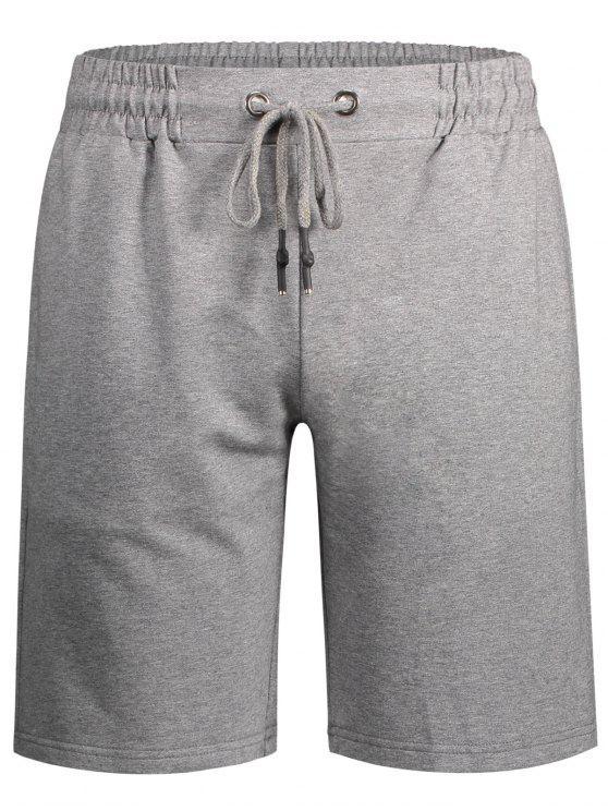 Herren Bermuda Shorts mit seitlichen Taschen und Kordelzug - Grau M
