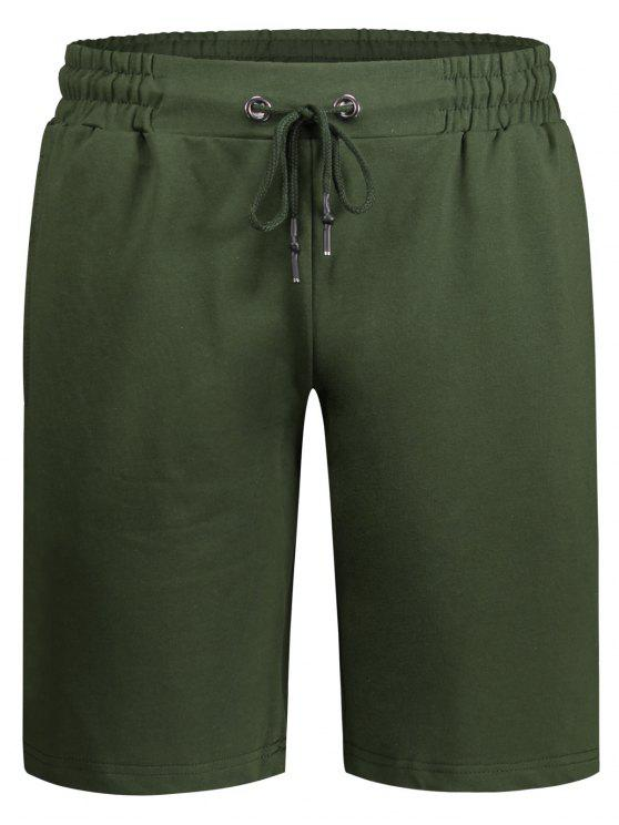 Side Pocket Drawstring Men Bermuda Shorts - Exército verde M