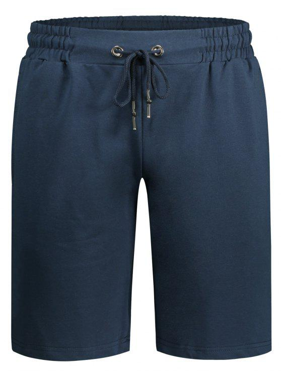 Side Pocket Drawstring Men Bermuda Shorts - Cadetblue 2XL