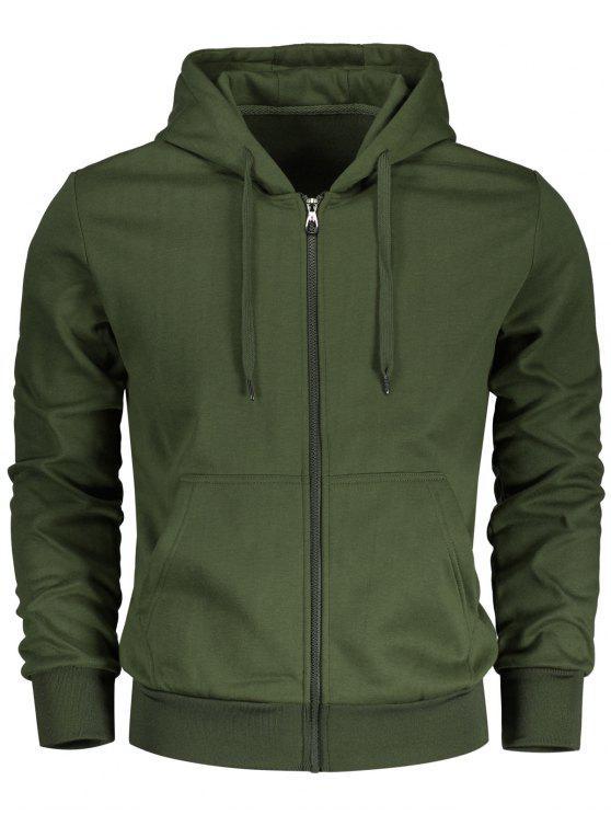 Pochette à manches à cordes Zip Zip Hoodie - Vert Armée 3XL