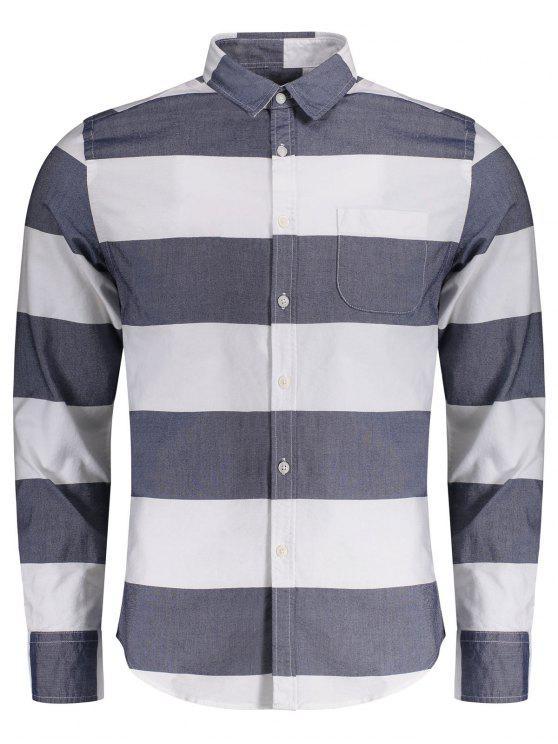 Camisa listrada de bolso simples com peito - Azul e Branco 2XL