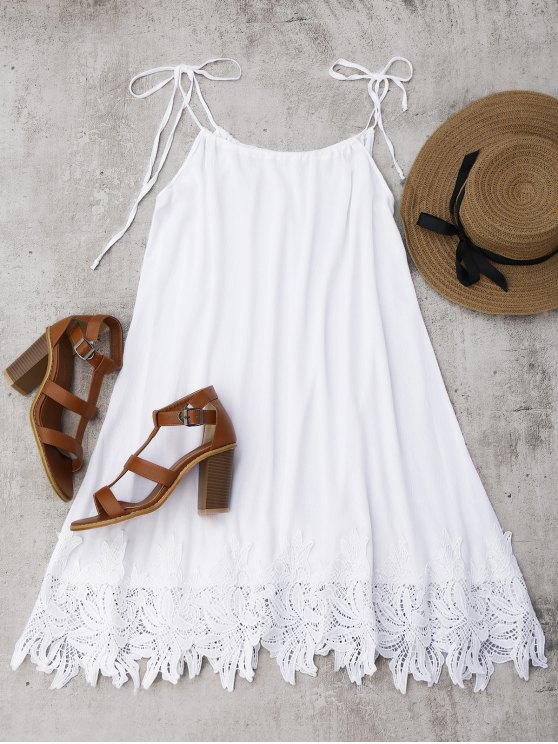 ladies Lace Trim Trapeze Sundress - WHITE S