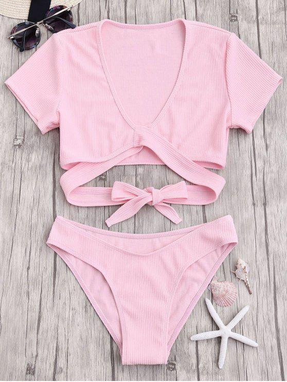 fancy Knot Front High Cut Bathing Suit - PINK L