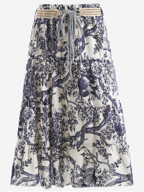 shop Belted Printed A Line Maxi Skirt - OFF-WHITE ONE SIZE