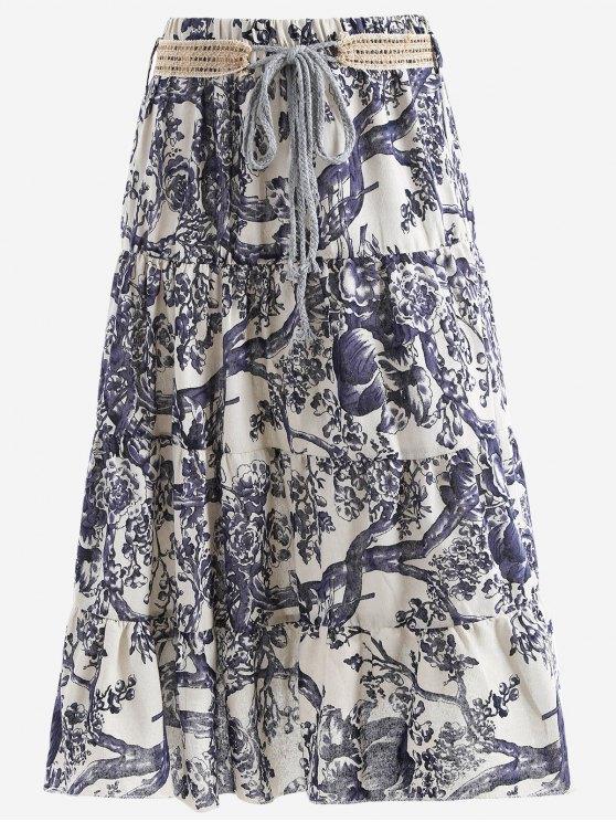 Cinturón impreso una falda maxi de línea - Blancuzco Única Talla