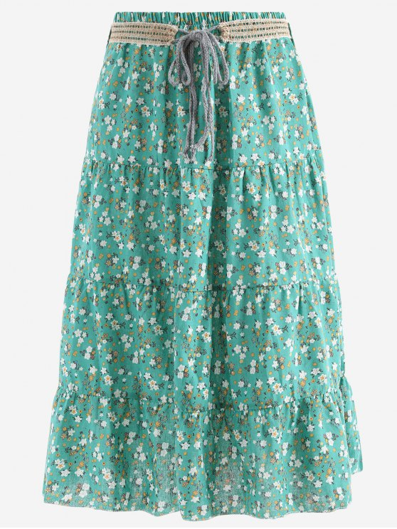 trendy Belted Printed A Line Maxi Skirt - GREEN ONE SIZE