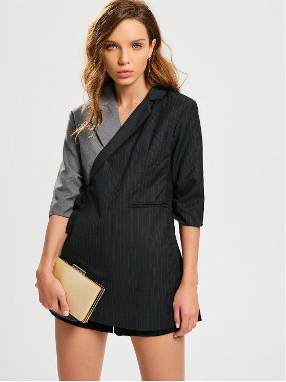 fashion Stripes Two Tone Wrap Blazer - BLACK AND GREY M