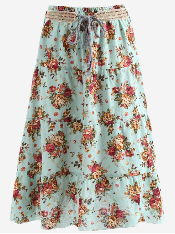 chic Belted Printed A Line Maxi Skirt - LIGHT BLUE ONE SIZE