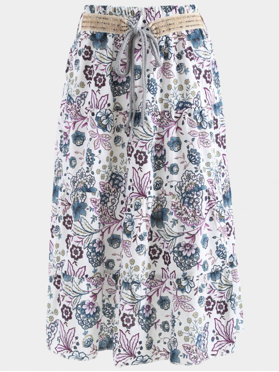 unique Belted Printed A Line Maxi Skirt - PURPLE ONE SIZE