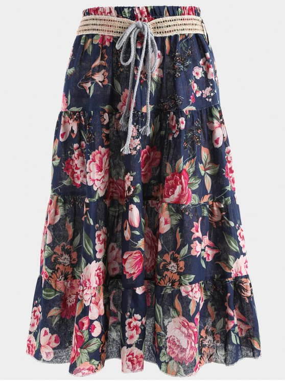 Belted Printed A Line Maxi Skirt - Cadetblue