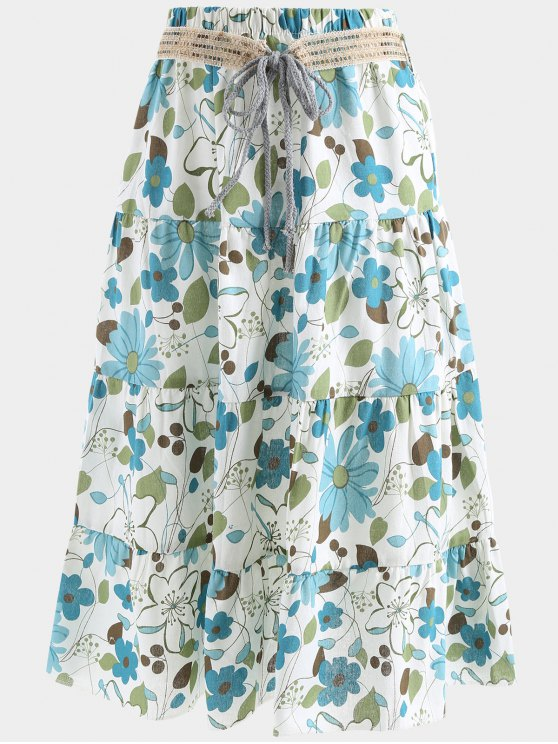 womens Belted Printed A Line Maxi Skirt - LAKE BLUE ONE SIZE