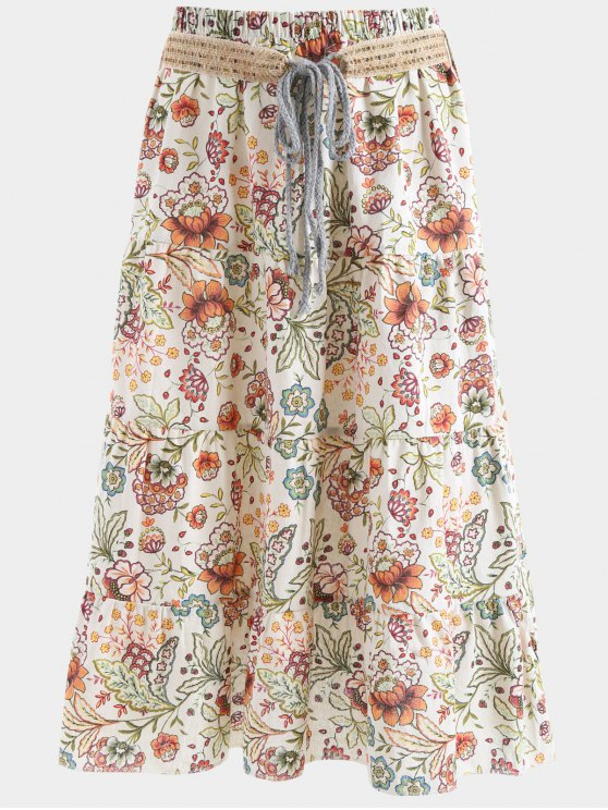 women's Belted Printed A Line Maxi Skirt - APRICOT ONE SIZE