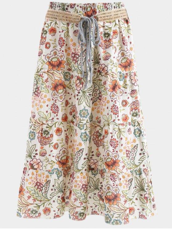 Cinturón impreso una falda maxi de línea - Albaricoque Talla única