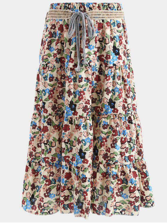 ladies Belted Printed A Line Maxi Skirt - PALOMINO ONE SIZE