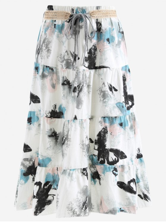 best Belted Printed A Line Maxi Skirt - LIGHT GRAY ONE SIZE