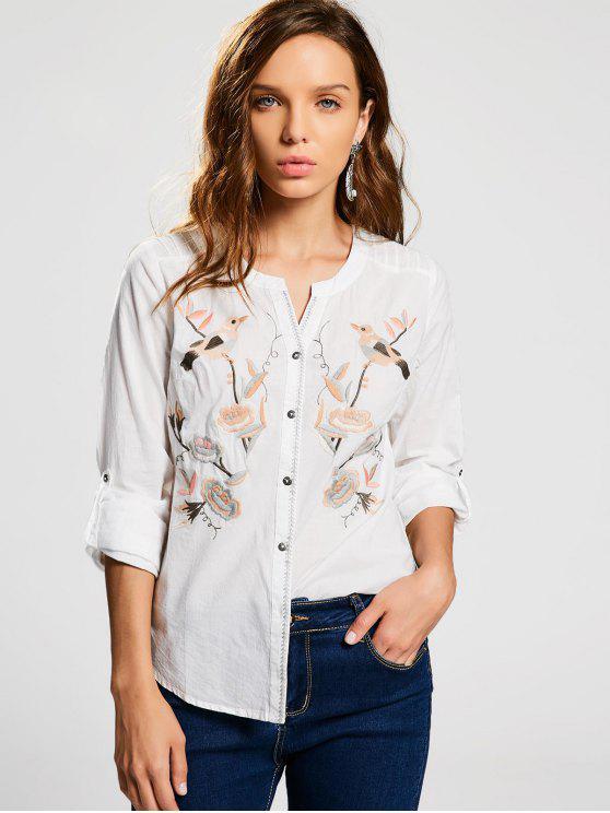 Botón encima de la camisa bordada pájaro floral - Blanco L