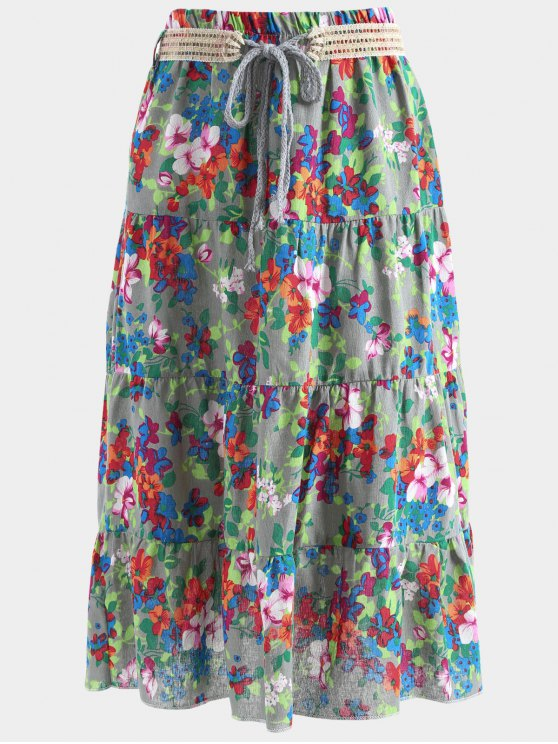 online Belted Printed A Line Maxi Skirt - DEEP GRAY ONE SIZE