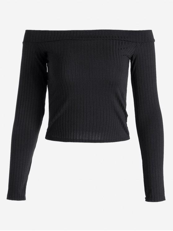 women's Ribbed Cropped Off Shoulder Top - BLACK S