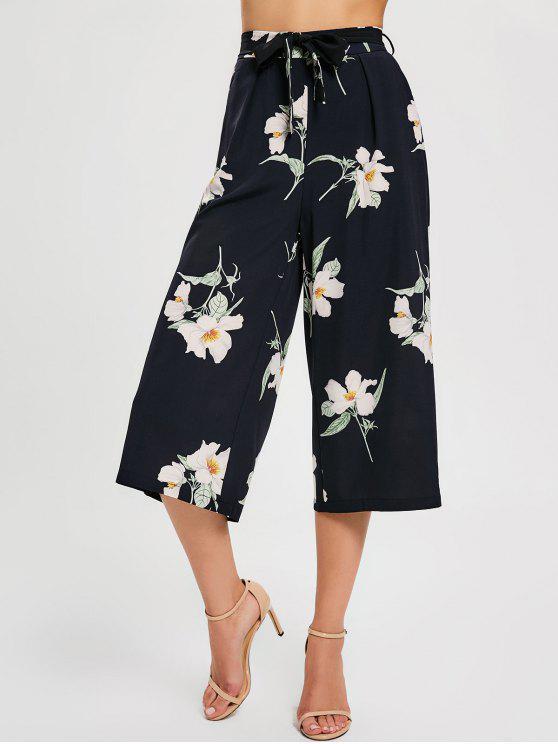 Blumengürtel Weites Bein Hose - Schwarz S